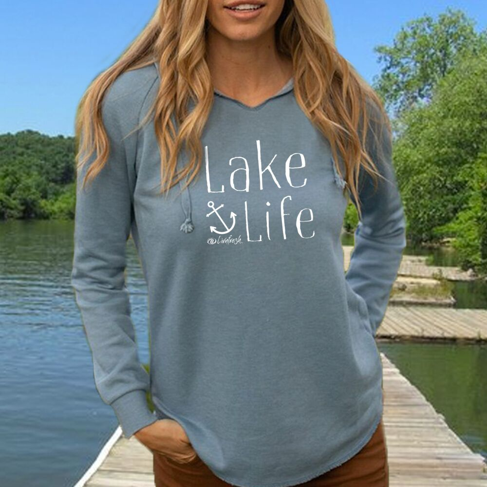 NEW Lake Life Anchor Women's Ultra Soft Wavewash Hoodie