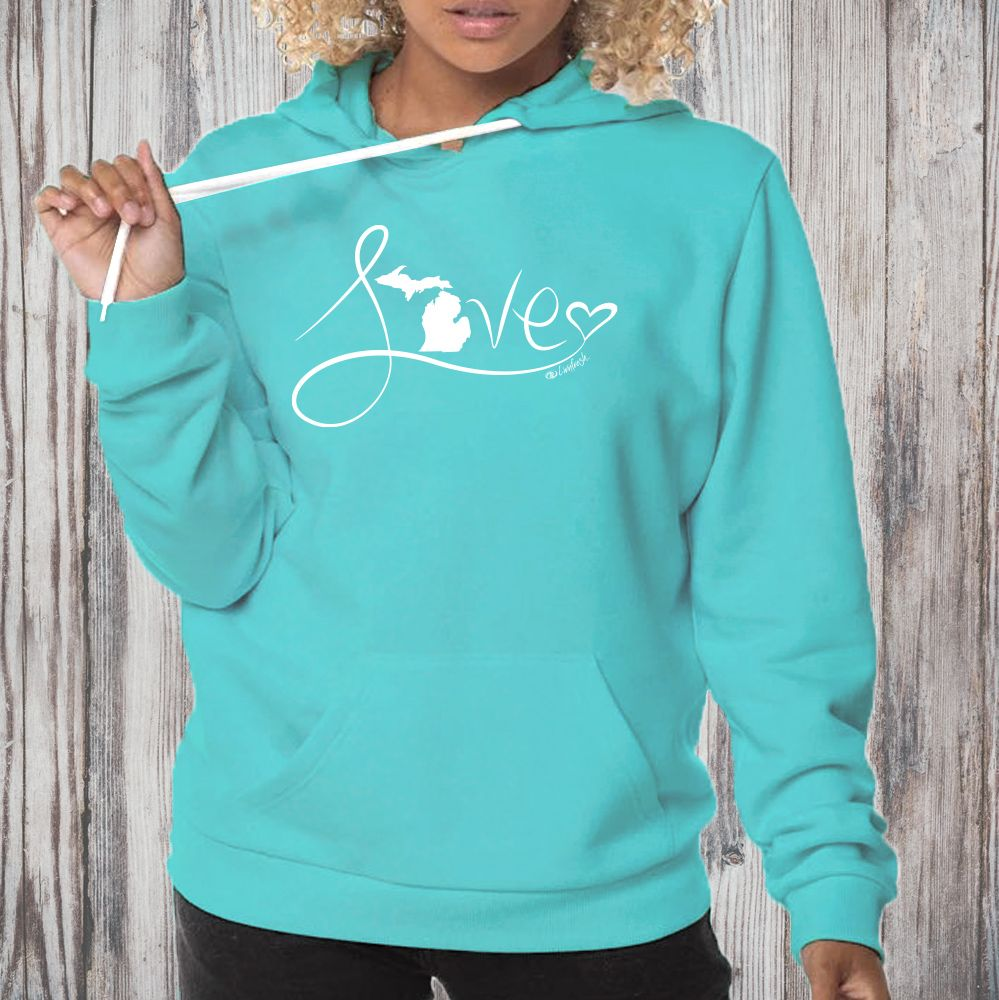 """Michigan Love #9"" Boyfriend Angel Fleece Hoodie"