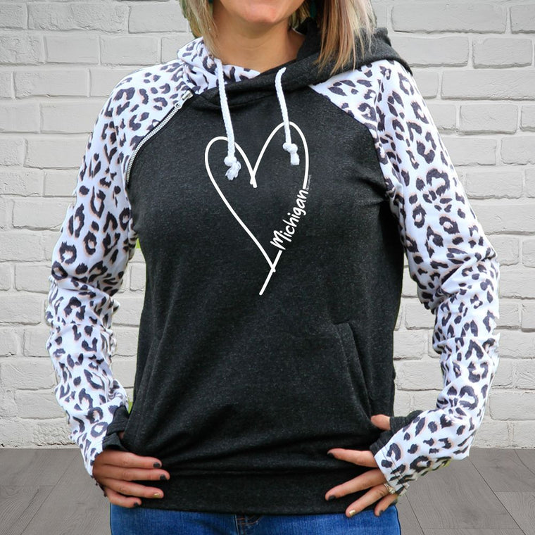 """Michigan Made With Love"" Women's Side Zip Fashion Leopard Hoodie"