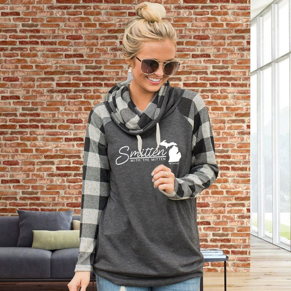 """Smitten With The Mitten"" Women's Plaid Sleeve Funnel Neck Top"