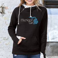 """Michigan Girl Swirl"" Women's Striped Double Hood Pullover"