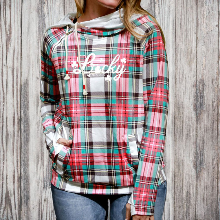 """Michigan Lucky"" Women's Plaid Fashion Double Hood"