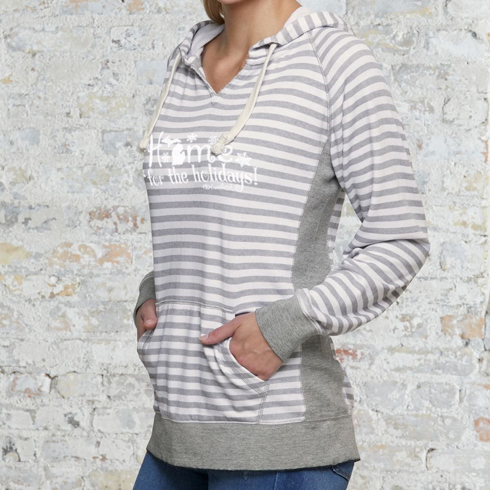"""Michigan Home For The Holidays"" Women's Striped Chalk Terry Pullover"