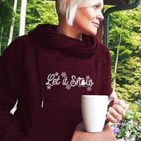 """Michigan Let It Snow"" Women's Fleece Funnel Neck Pullover Hoodie"