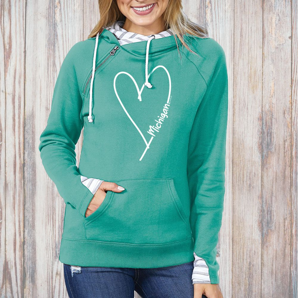 """Michigan Made With Love"" Women's Striped Double Hood Pullover"