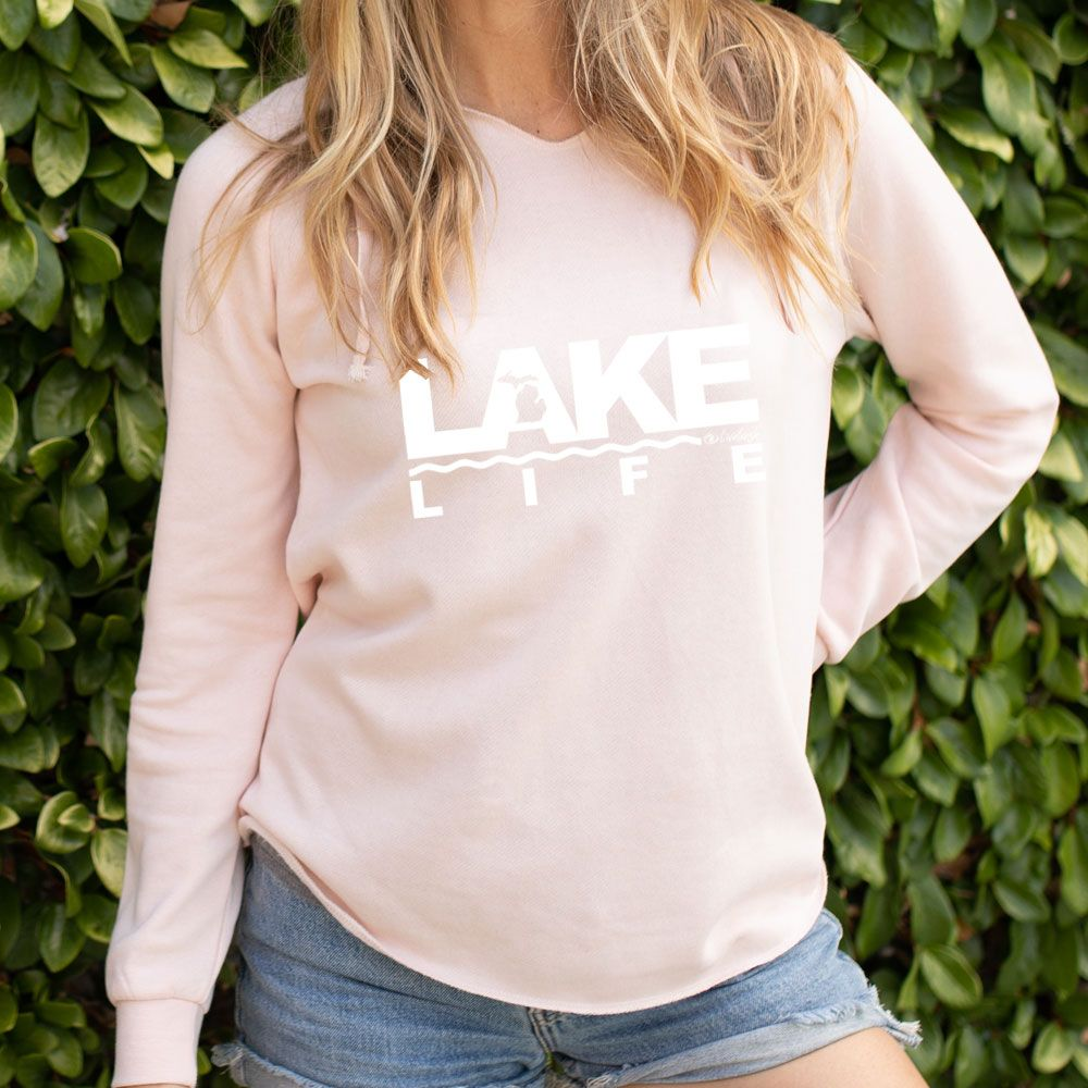 """Michigan Lake Life"" Women's Ultra Soft Wave Wash Hoodie"