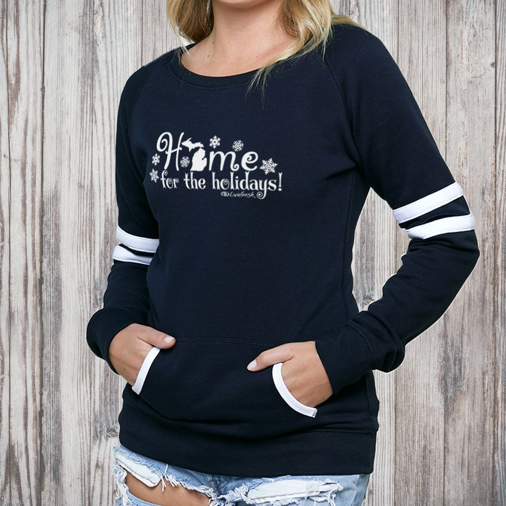 """Michigan Home For The Holidays"" Women's Varsity Fleece Crew Sweatshirt"
