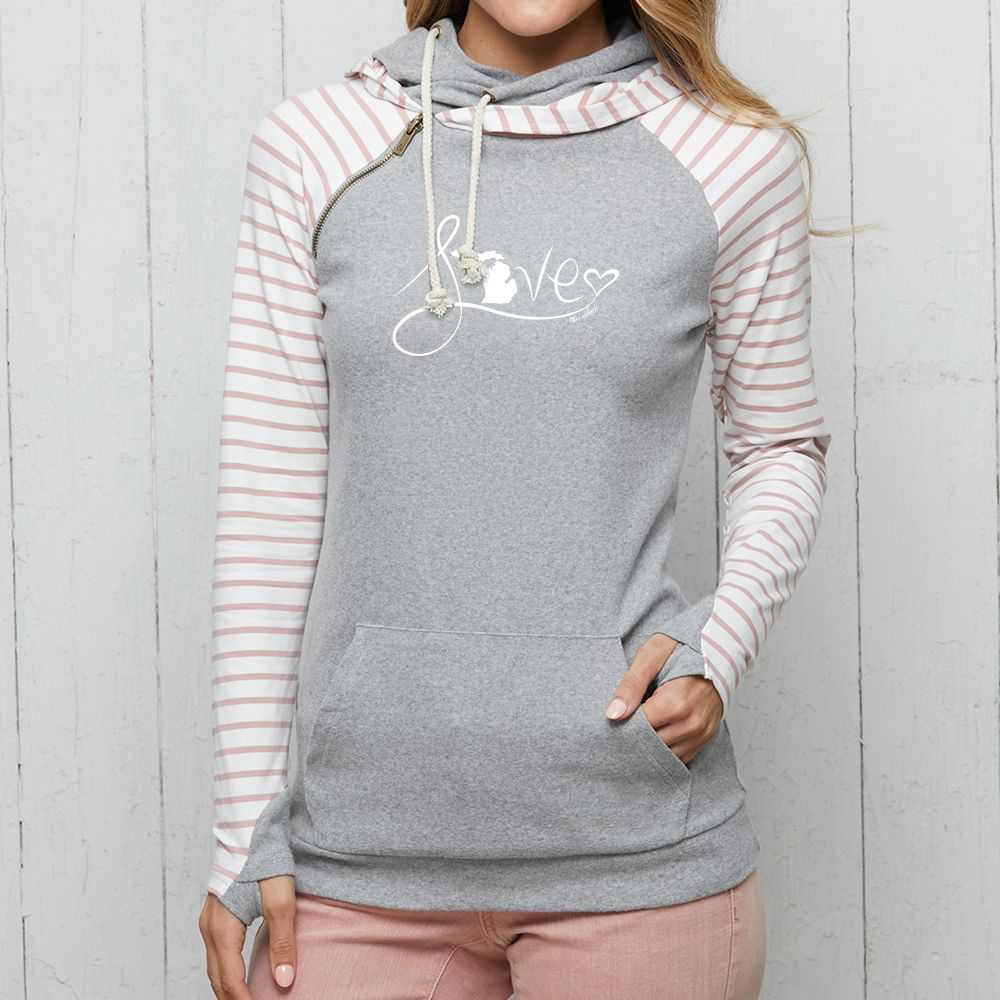 """Michigan Love #9"" Women's Striped Double Hood Pullover"