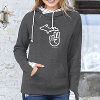 """It's A Michigan Thing"" Women's Striped Double Hood Pullover"