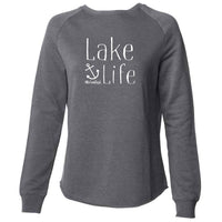 """NEW Lake Life Anchor"" Women's Ultra Soft Wave Wash Crew Sweatshirt"