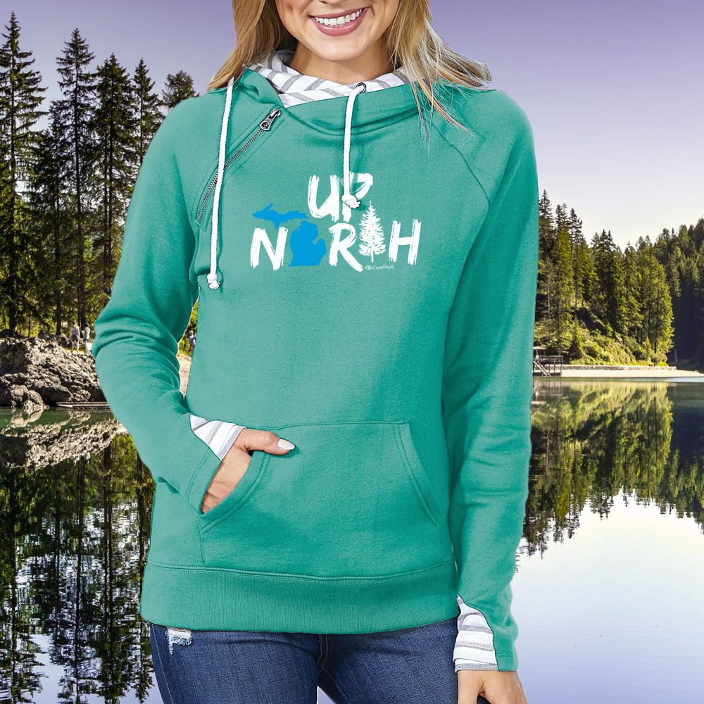 """Up North Michigan Woods"" Women's Striped Double Hood Pullover"