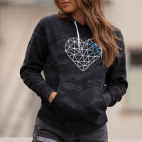 """Michigan Origami Heart"" Women's Boyfriend Camo Hoodie"