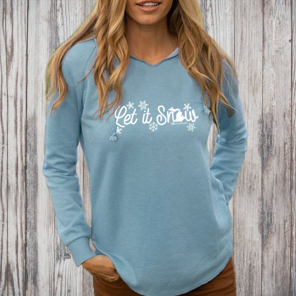 """Michigan Let It Snow"" Women's Ultra Soft Wave Wash Hoodie"