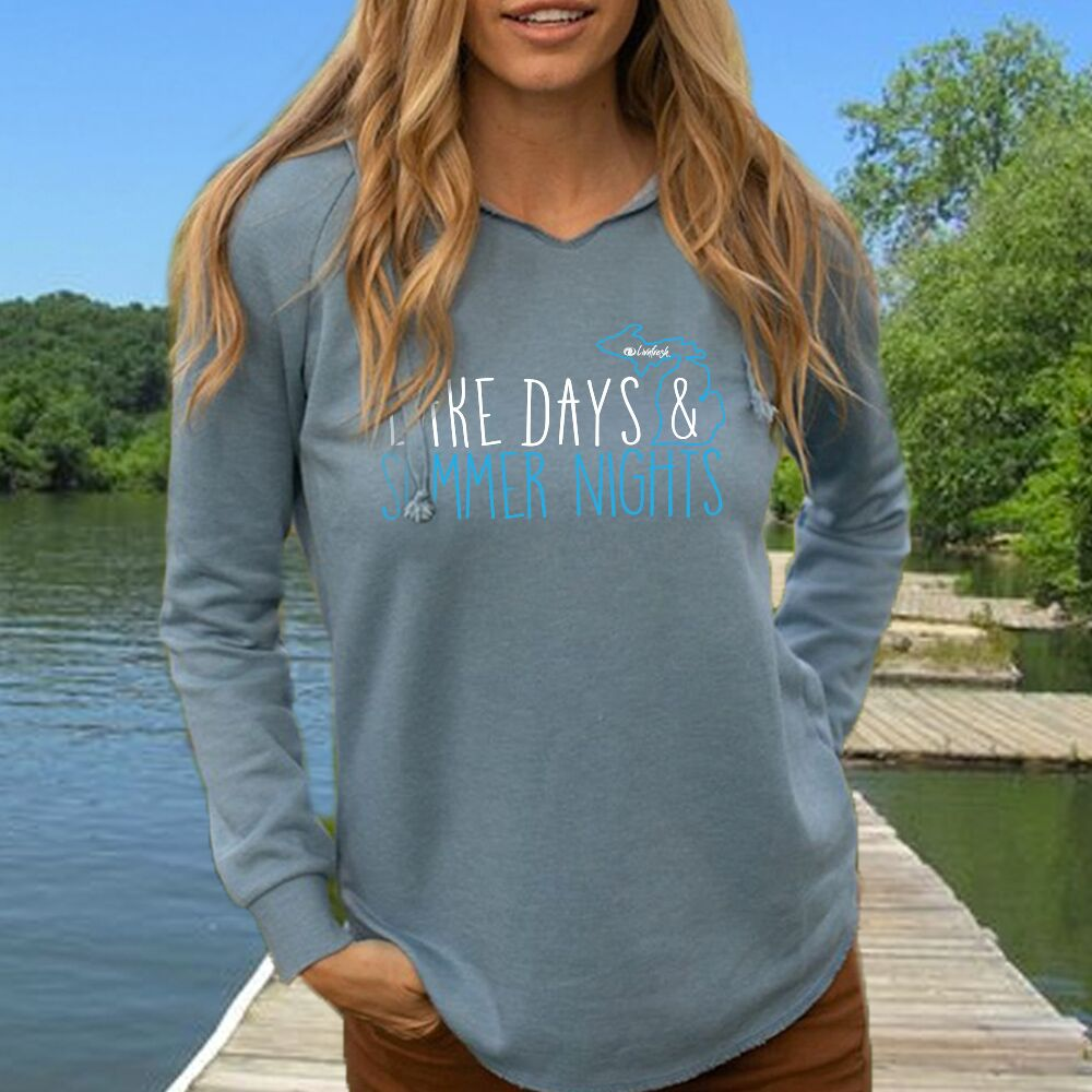 Michigan Lake Days And Summer Nights Women's Ultra Soft Wavewash Hoodie