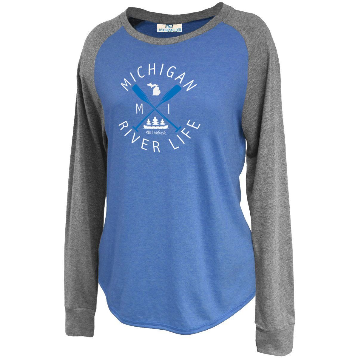 Michigan River Life Women's Raglan Jersey Crew