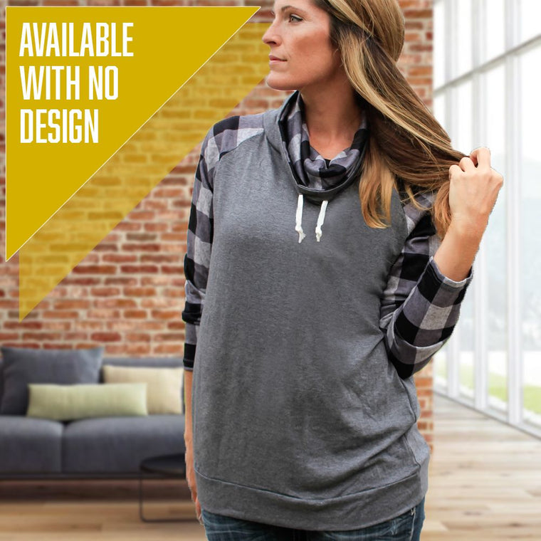 """Livn Simply"" Women's Plaid Sleeve Funnel Neck Top"