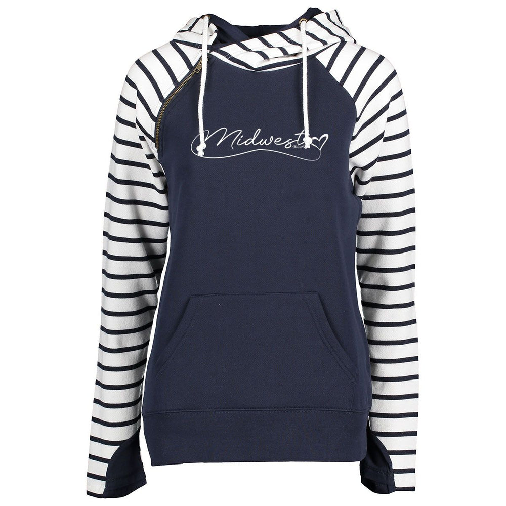 """Midwest Love"" Women's Striped Double Hood Pullover"