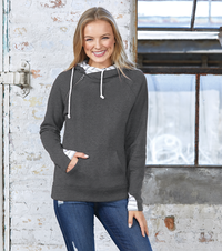 """Livn Simply"" Women's Striped Double Hood Pullover"