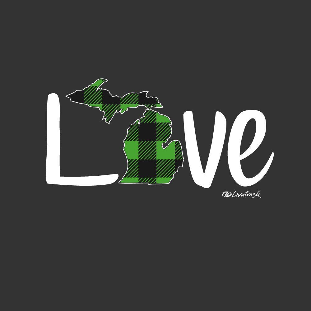 """Michigan Love Green Plaid"" Women's Fleece Funnel Neck Pullover Hoodie"