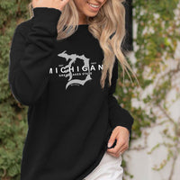 """Michigan D Established 1837"" Women's Ultra Soft Wave Wash Crew Sweatshirt"