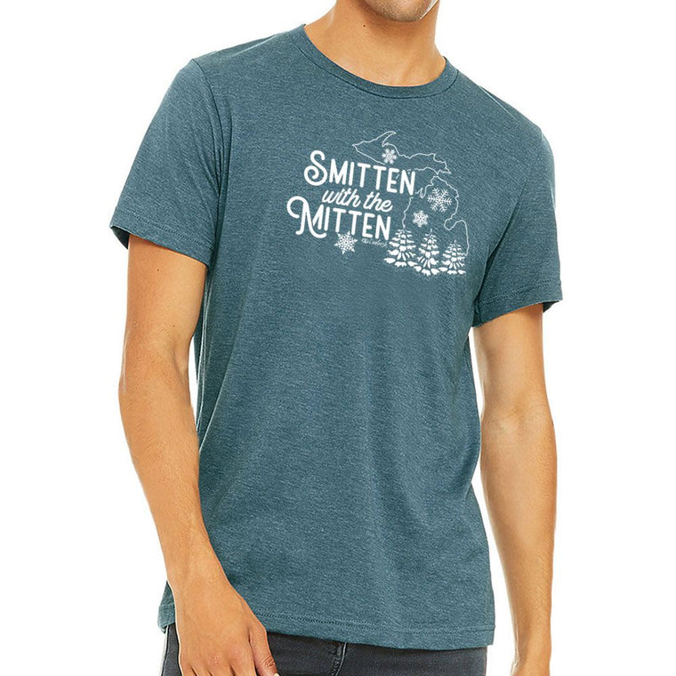 """Michigan Winter Smitten"" Men's Crew T-Shirt"