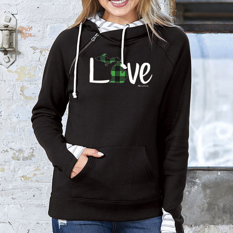 """Michigan Love Green Plaid"" Women's Striped Double Hood Pullover"