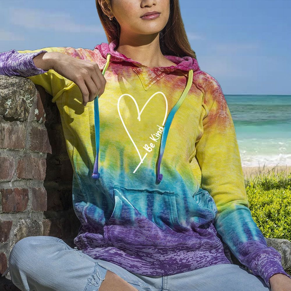 """Be Kind With Love"" Women's Tie Dye Fashion Hoodie"