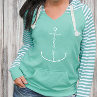"""Nauti Girl Anchor"" Women's Striped Chalk Terry Pullover"