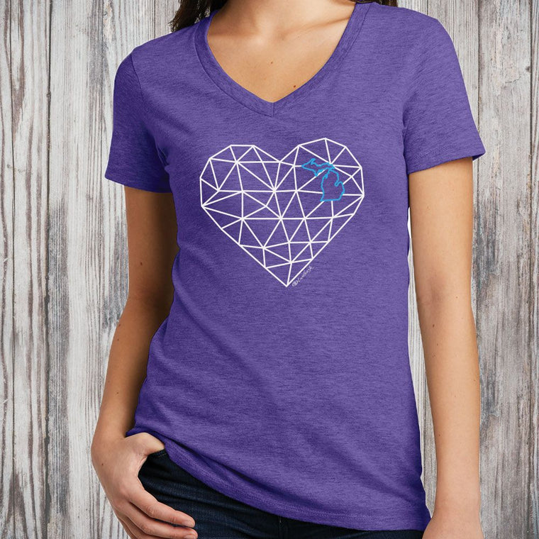 """Michigan Origami Heart"" Women's V-Neck"