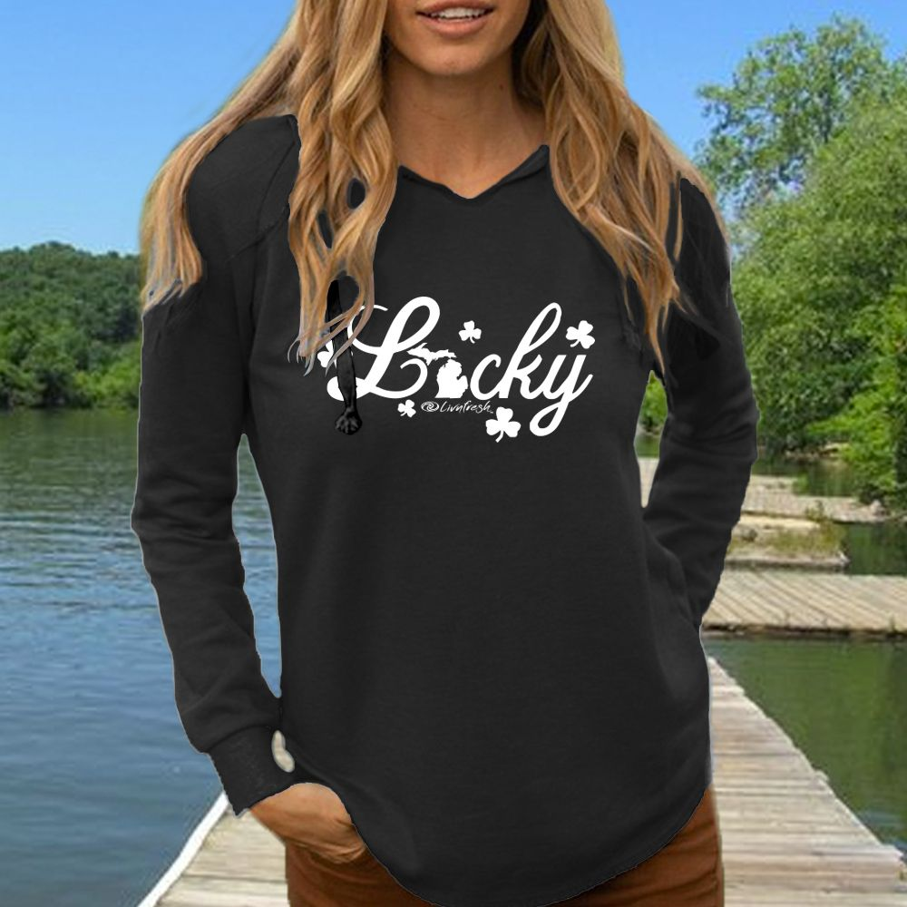 """Michigan Lucky"" Women's Ultra Soft Wave Wash Hoodie"