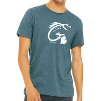 """Michigan Fish Hook"" Men's Crew T-Shirt"