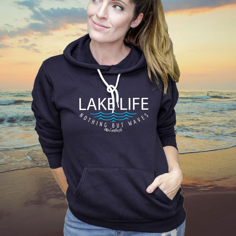 """Lake Life WAVES"" Boyfriend Angel Fleece Hoodie"