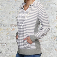 """Be Kind With Love"" Women's Striped Chalk Terry Pullover"