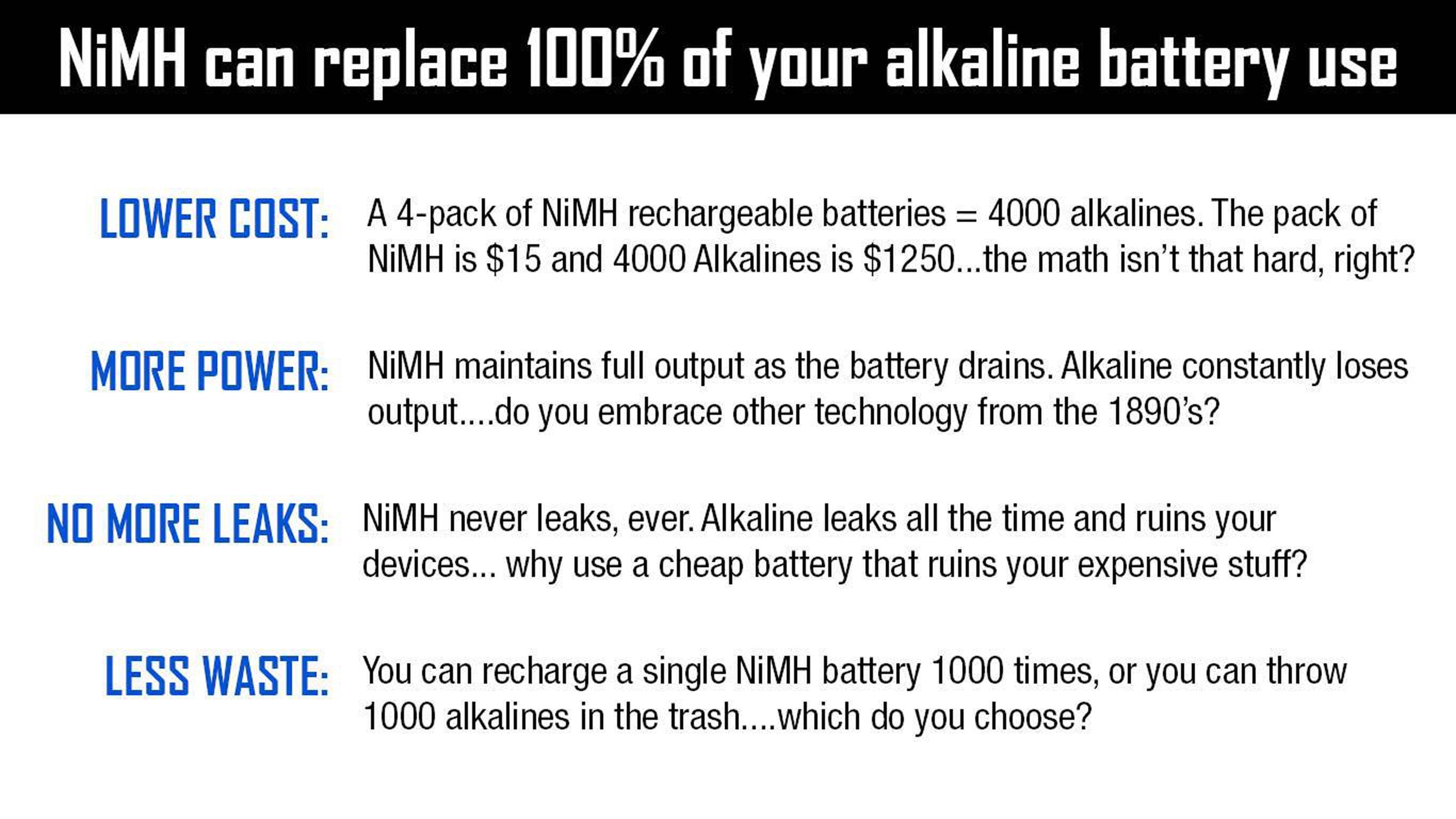 NiMH Rechargeable AA or AAA