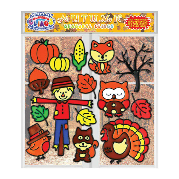 Autumn and Fall Gel Clings for Kids & Toddlers - Seasonal Window Cling Decorations - 14 Pieces
