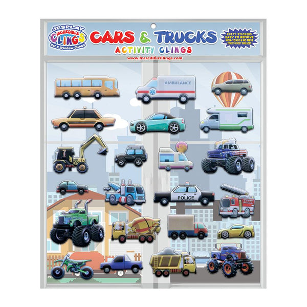 Cars & Trucks - Puffy Sticker Clings - 21 Pieces