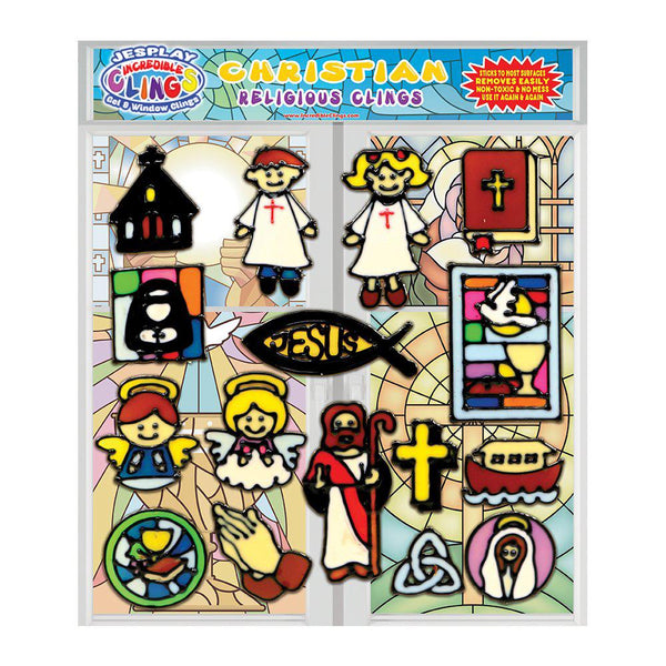 Christian Gel Clings for Kids & Toddlers - Religious Window Cling Decorations - 16 Pieces