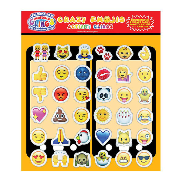 Crazy Emoji - Puffy Sticker Clings - Reusable Activity Puffy Stickers - 36 Pieces