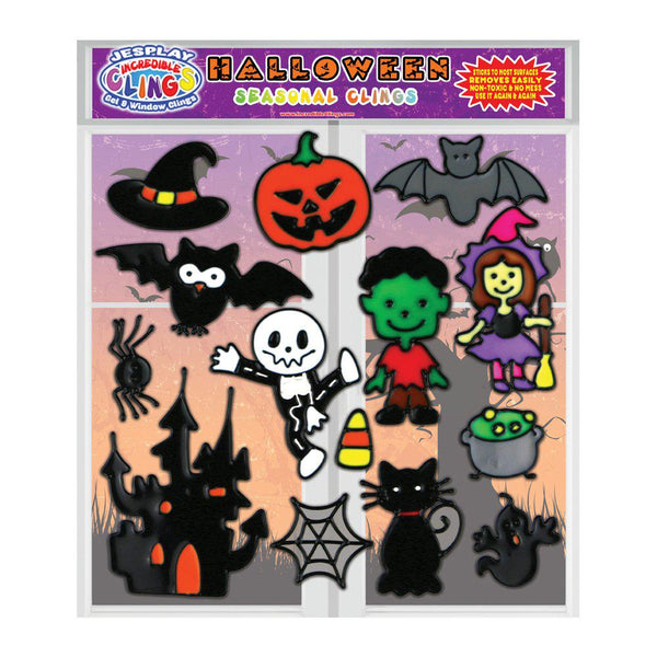 Halloween Gel Clings for Kids & Toddlers - Holiday Window Cling Decorations - 14 Pieces
