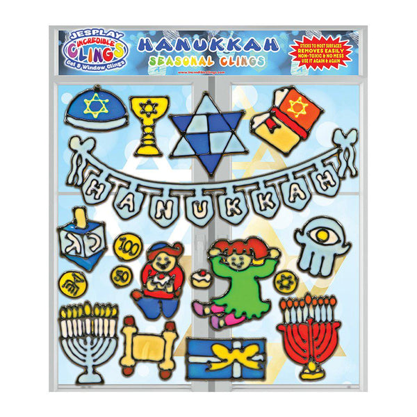 Hanukkah Gel Clings for Kids & Toddlers - Holiday Window Cling Decorations - 18 Pieces