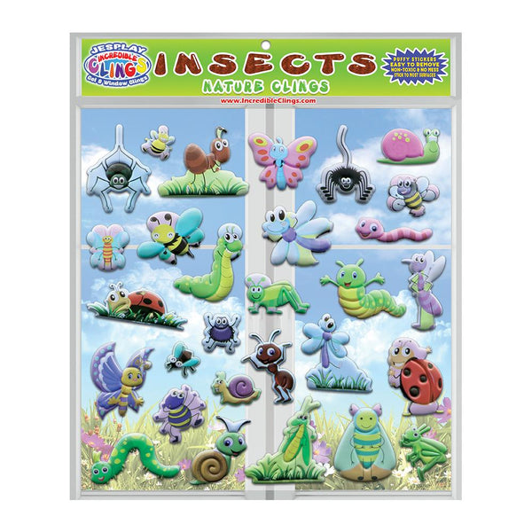 Insects & Bugs - Puffy Sticker Clings - Reusable Puffy Stickers - 29 Pieces
