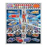Racecars Incredible Gel & Window Clings - Reusable Puffy Stickers - 26 Pieces