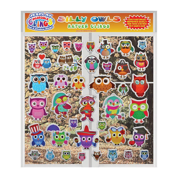 Owls - Puffy Sticker Clings - Reusable 26 Pieces