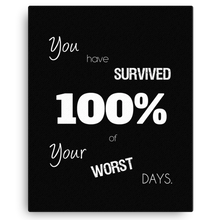 You Have Survived 100% of Your Worst Days Canvas Wall Art