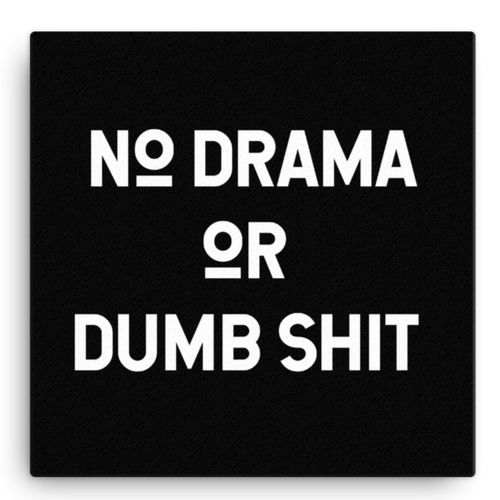 No Drama or Dumb Sh*t Canvas Wall Art