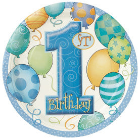First Birthday Blue Balloons Round - Dessert Plates