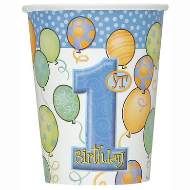 First Birthday Blue Balloons Paper Cups