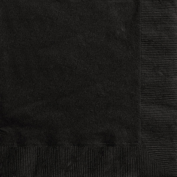 Midnight Black Solid Luncheon Napkins