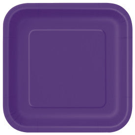 Deep Purple Solid Square - Dessert Plates