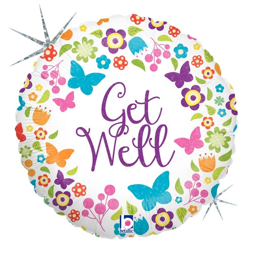 Butterflies & Flowers Get Well